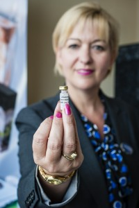 Amanda Woodward, general manager of Tamworth Co-op funeral division, pictured with a vial of DNA.
