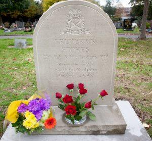 Sandstone headstone for Frederick Stokes.