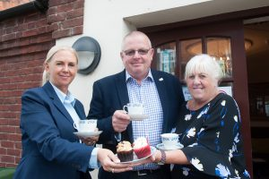 Woodville Co-op funeral director Lorraine Walker (left) and funeral arranger Sandra Wyatt will be serving up array of tasty treats for World's Biggest Coffee Morning. Pictured with them is funeral celebrant Chris Knight who is helping to organise event.