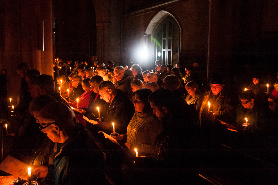 St Editha's Church glows with hundreds of candles lit by people in memory of lost loved ones at last year's Tamworth Co-op memorial and carol service.