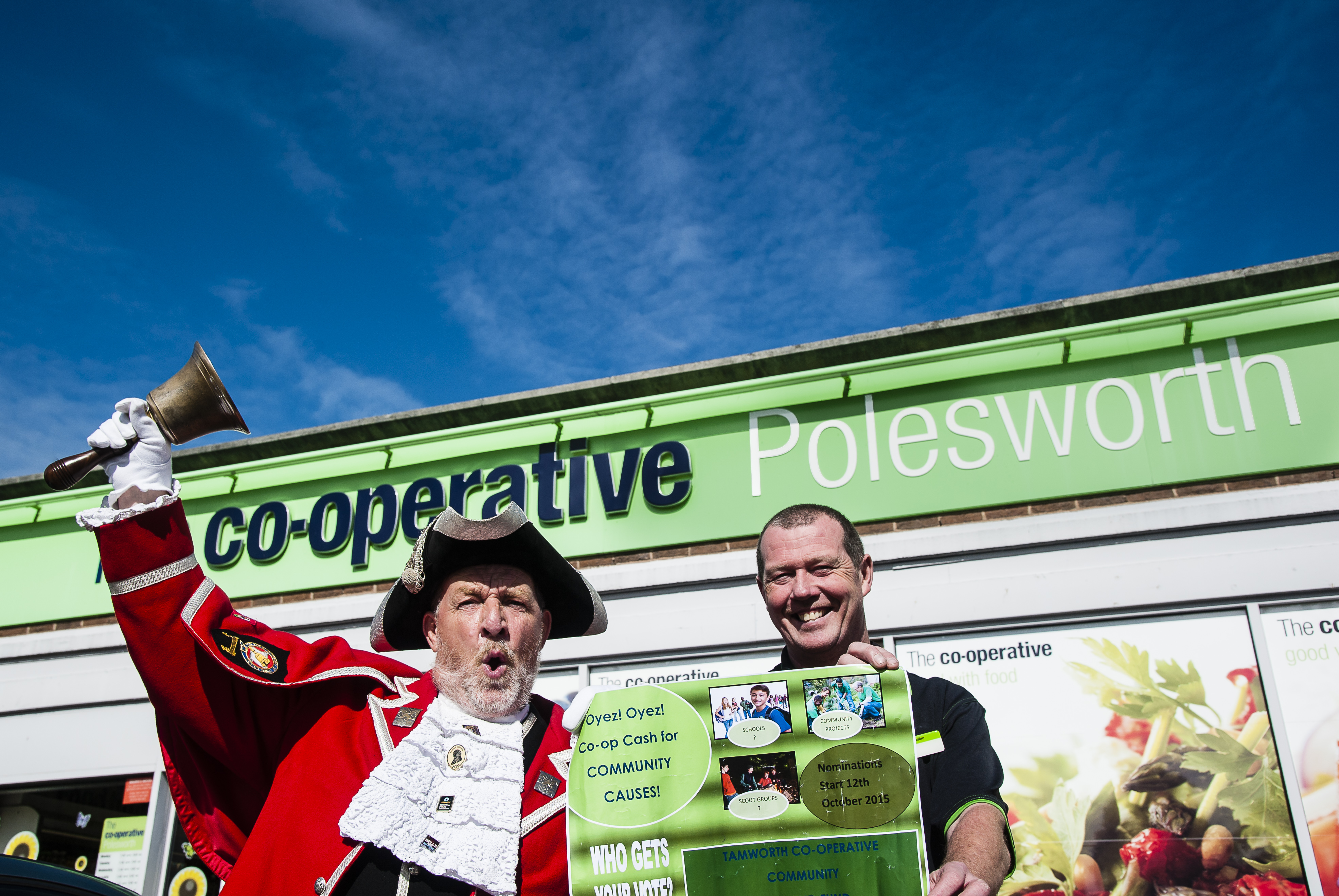 Oyez! Oyez! Town crier Ken Knowles helps promote the scheme in Polesworth with store manager Karl Vyse