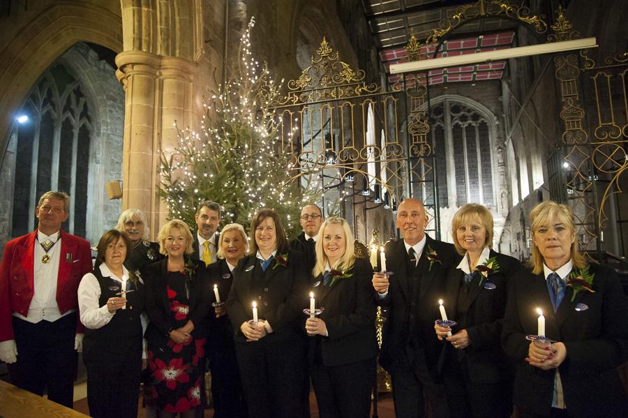 Tamworth Co-op's funeral staff pictured with Falklands War veteran Nigel Fielding (far left).