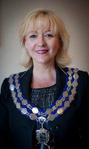 Amanda Woodward wearing her chain of office as the newly appointed president of BIE.