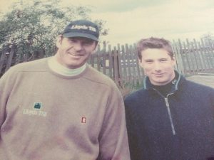 James Frow pictured with his golfing hero Nick Faldo.
