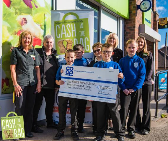 Pictured are representatives from three of organisations that received the biggest grant of £2,500 from Tamworth Co-op Cash in the Bag scheme.