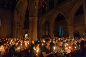 Hundreds of people light candles in memory of relatives and friends at 2018 Tamworth Co-op Christmas memorial and carol service which attracted record attendance