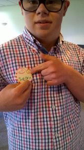 SPIN member with badge